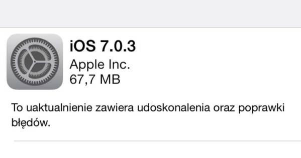 iOS 7.0.3 – nowa aktualizacja