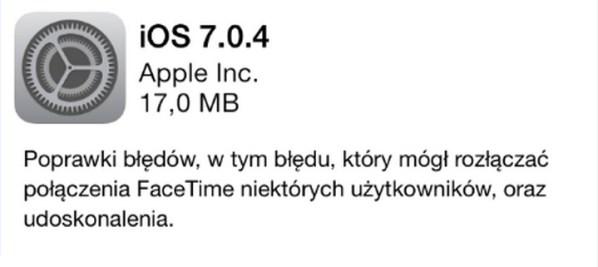 iOS 7.0.4 dla iPhone'a i iPada dostępny do pobrania