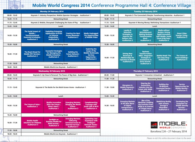Mobile World Congress 2014 - AGENDA
