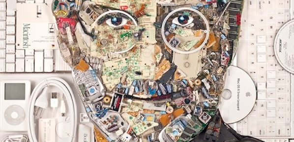 Portret Steve'a Jobsa z 9 kg e-odpadów