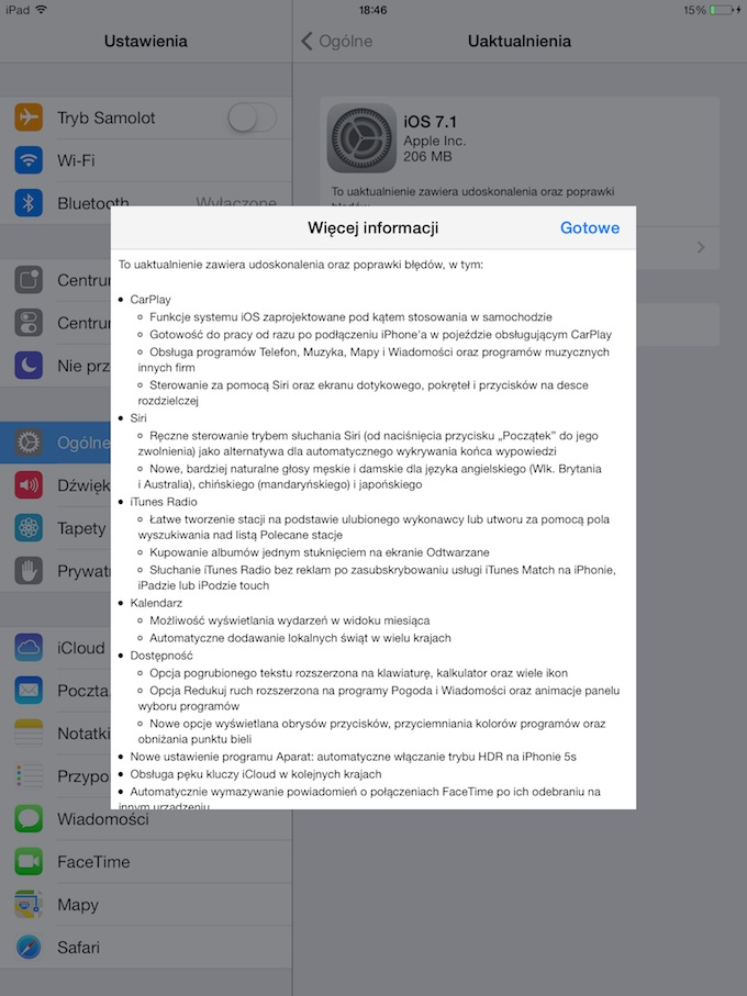 iOS 7.1 iPad 3 - changelog