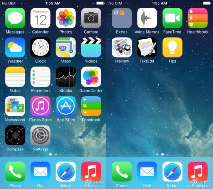 rzekome screeny z iOS 8