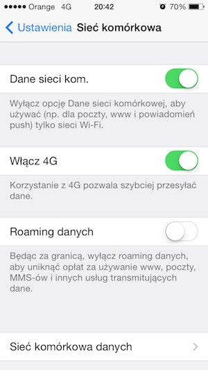 LTE 4G w Orange na iPhone'ie