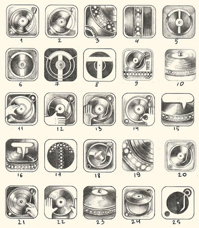 Szkice ikony aplikacji Turnplay