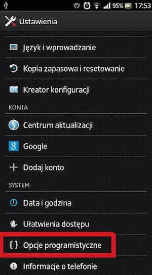 Ustawienia programistyczne Android