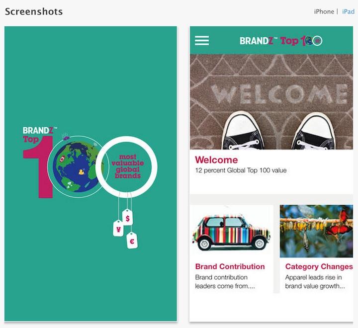 Aplikacja mobilna BrandZ TOP 100