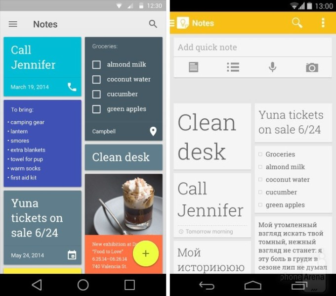 Google Keep na Androida