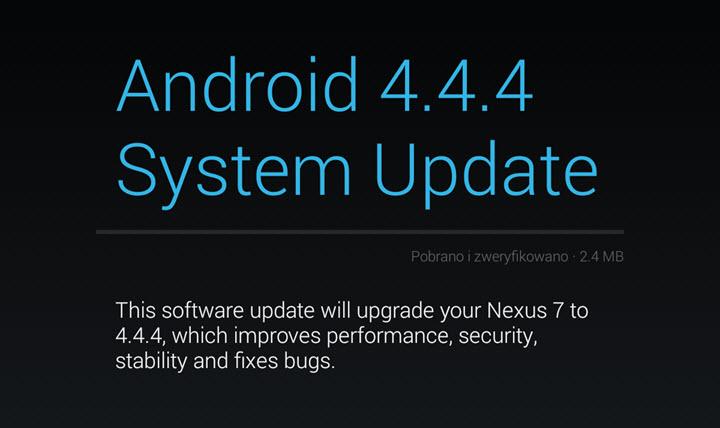 Android 4.4.4 w trybie OTA
