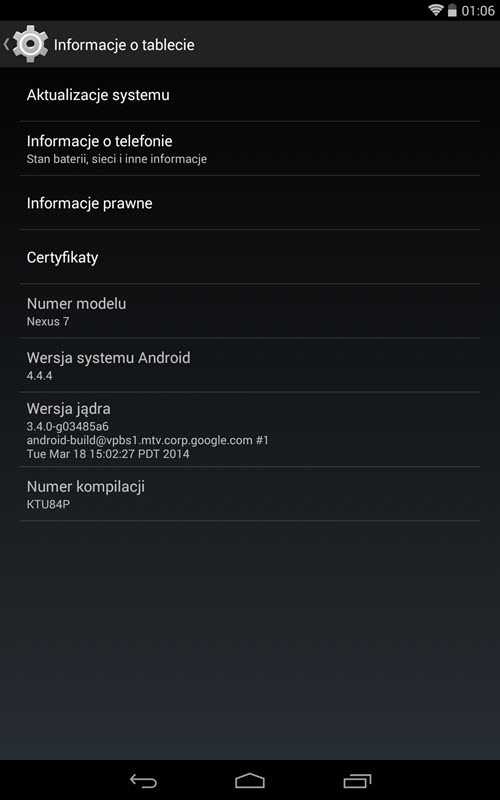 Android 4.4.4 (Nexus 7) - screen