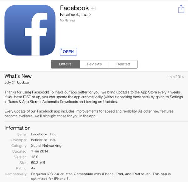 Facebook 13.0 i obietnica aktualizacji co 4 tygodnie