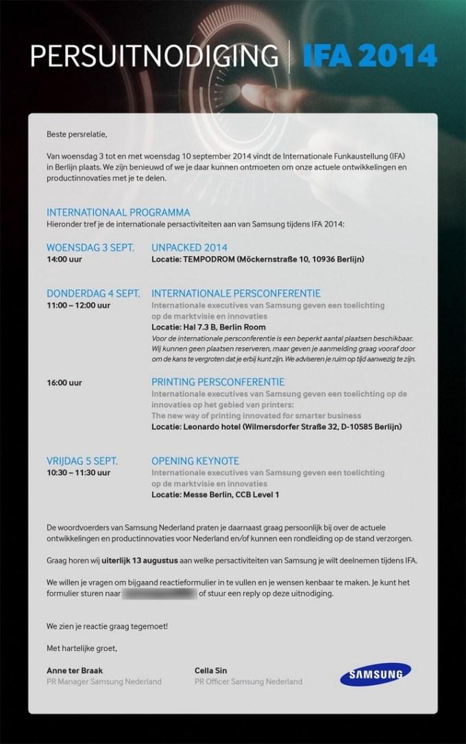 Zaproszenie na IFA 2014 - Samsung Galaxy Note 4