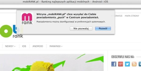 Włącz powiadomienia push od mobiRANK.pl