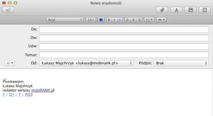 Tworzenie podpisu e-mail w frmacie HTML na iPhone'ie i iPadzie