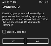 Przywracanie do ustawień fabrycznych pod systemem Windows Phone