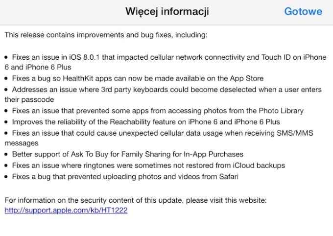 iOS 8.0.2 - lista zmian
