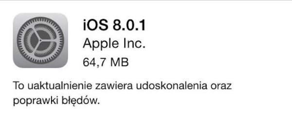 Apple udostępniło iOS 8.0.1 – lista zmian