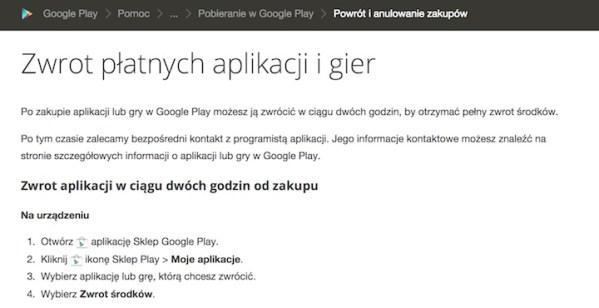 Jak zwrócić płatną aplikację w sklepie Google Play?