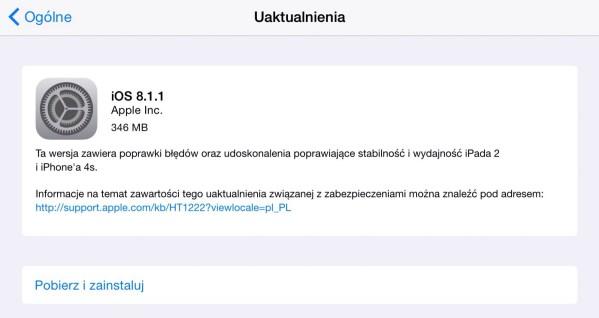 iOS 8.1.1 dostępny do pobrania!