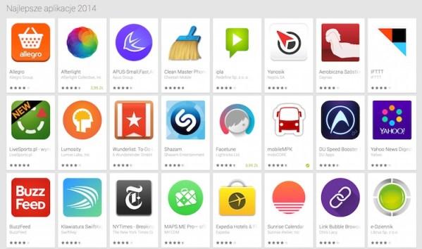 """""""Najlepsze aplikacje 2014"""" w Google Play"""