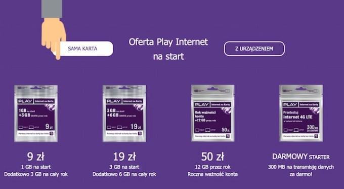 Startery internetu mobilnego na kartę w Play