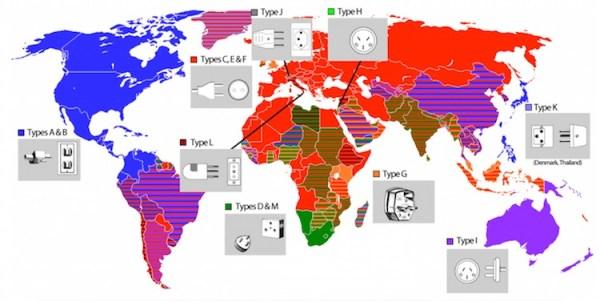 Wtyczki i gniazdka na świecie