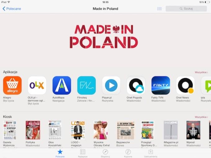 Aplikacje w sekcji Made in Polnad - App Store