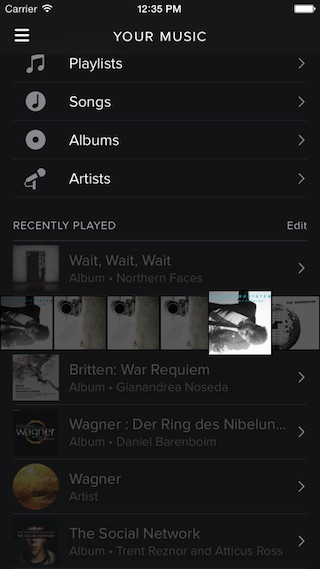 Obsługa gestów w aplikacji Spotify