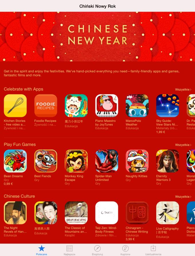 Chiński Nowy Rok 2015 w App Storze