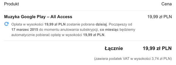 koszt usługi Muzyka Google Play All Access