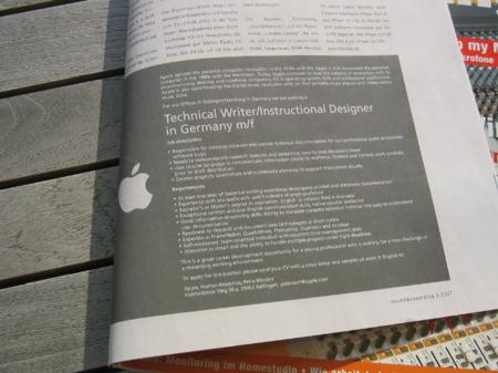 Ogłoszenie prasowe o pracę Apple