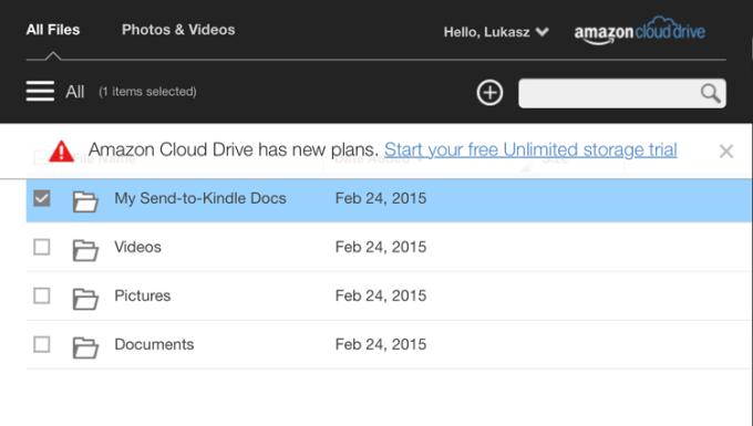 Amazon Cloud Drive - My Send To  Kindle Docs