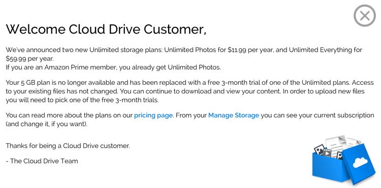 Cloud Drive - komunikat
