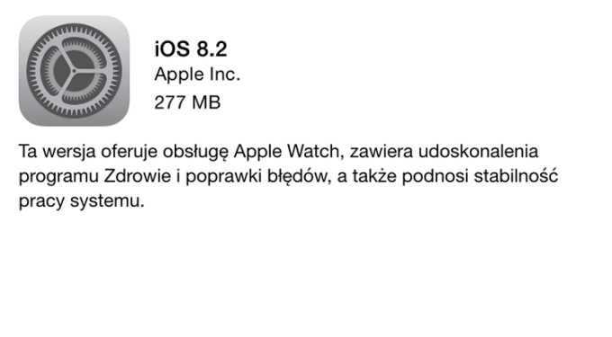 iOS 8.2 gotowy do pobrania