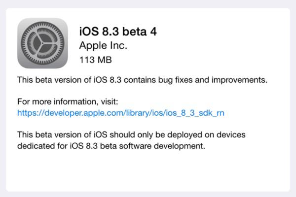Czwarta beta systemu iOS 8.3