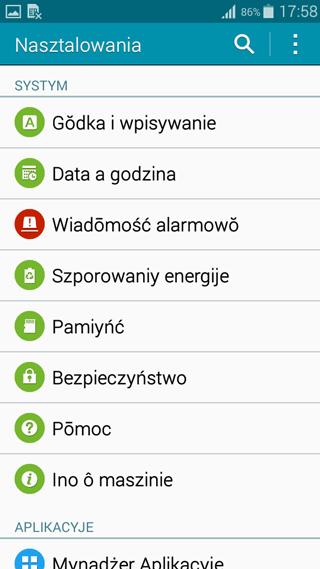 Interfejs w języku śląskim Samsung