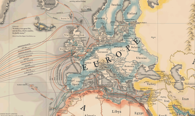 Podwodne kable internetowe  - Europa
