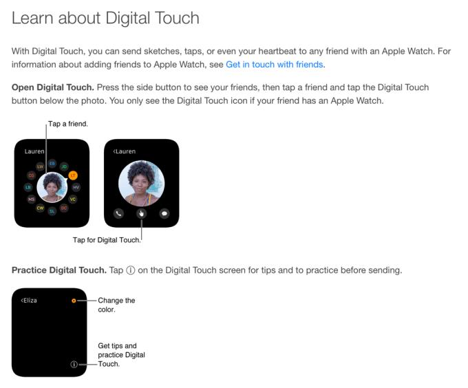 Fragment z podręcznika użytkownika Apple Watch dotyczący Digital Touch