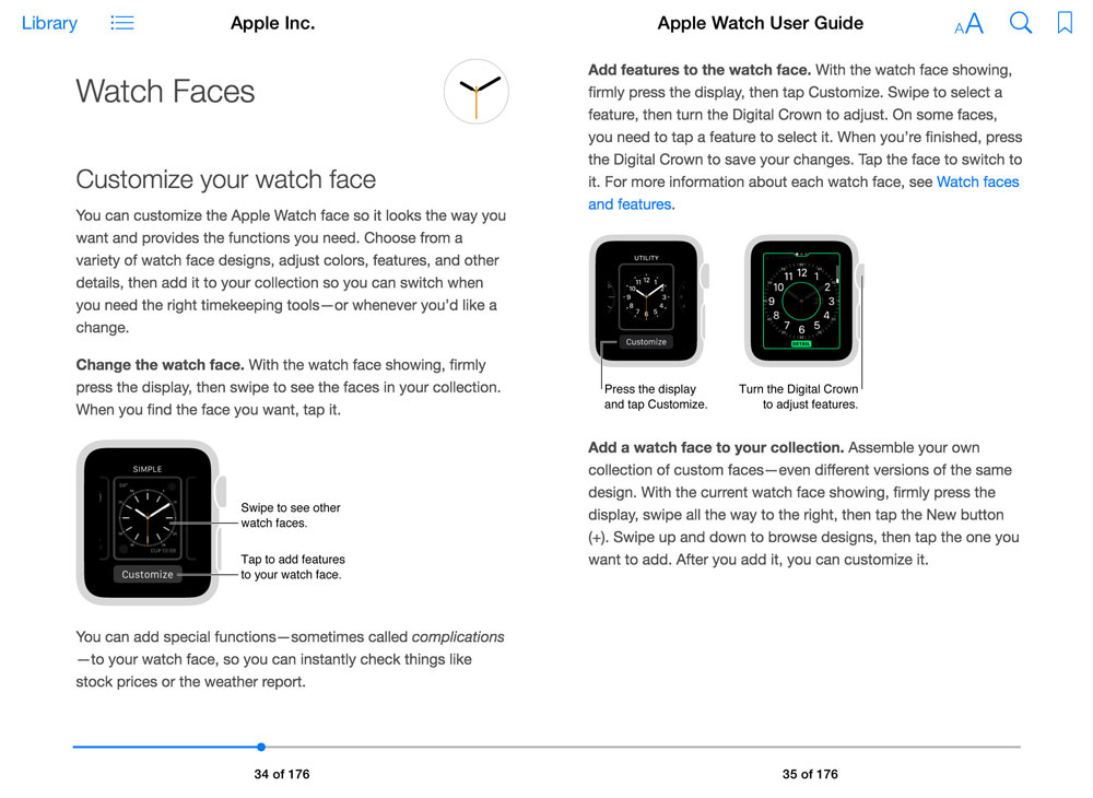 Apple Watch - User Guide wersja z iBook Store'a (Watch Faces)
