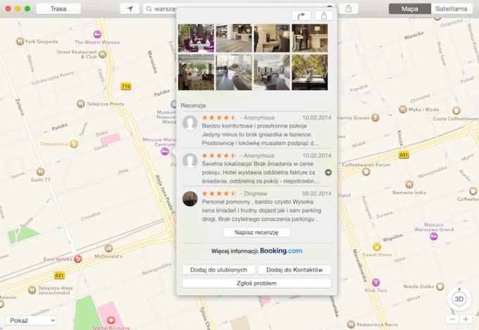 Mapy Apple - recenzje Booking.com