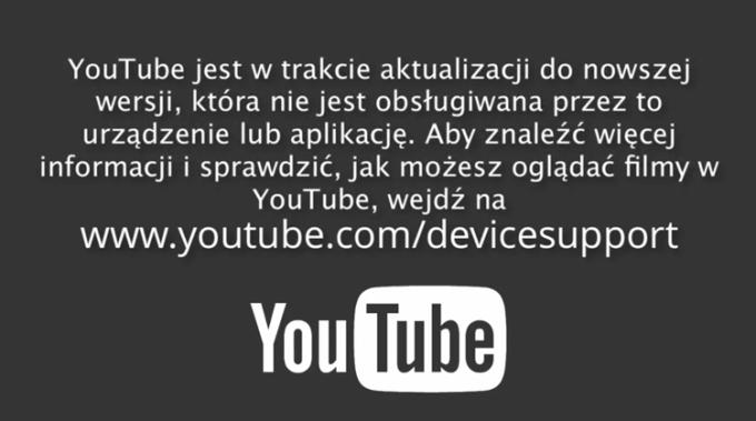 YouTube przestanie działać na starszych urządzeniach