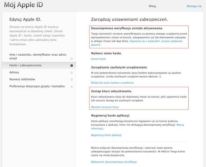 Zarządzanie Apple ID i weryfikacja dwuetapowa