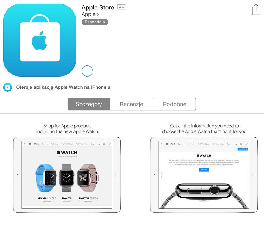 Apple Store app na iPhone i iPad
