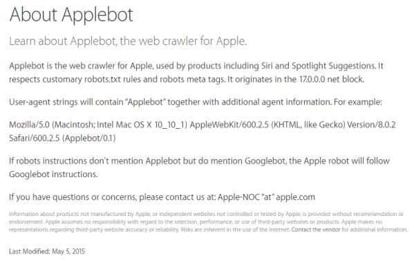 Applebot indeksuje strony internetowe dla Siri i Spotlight