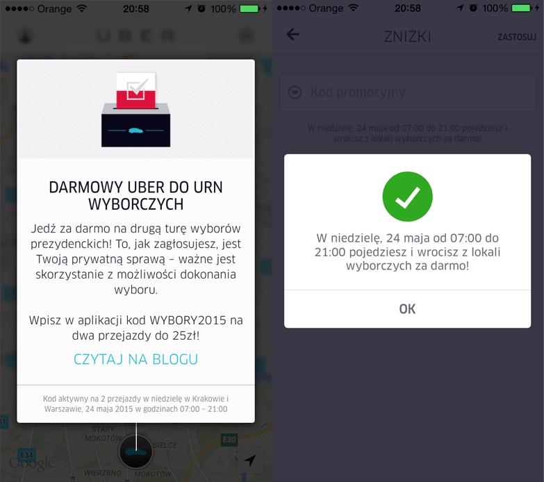 Darmowy Uber do urn wyborczych 24 maja 2015 r.