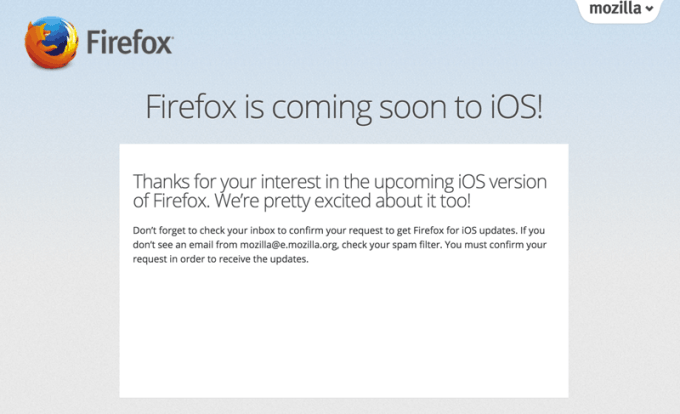 Firefox na iOS-a już wkrótce!