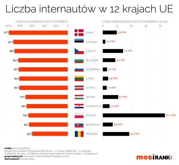 Liczba internautów w 12 krajach UE