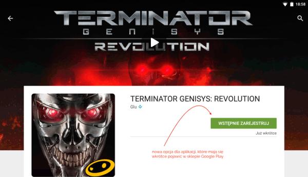 """Opcja """"Wstępnie zarejestruj"""" w sklepie Google Play"""