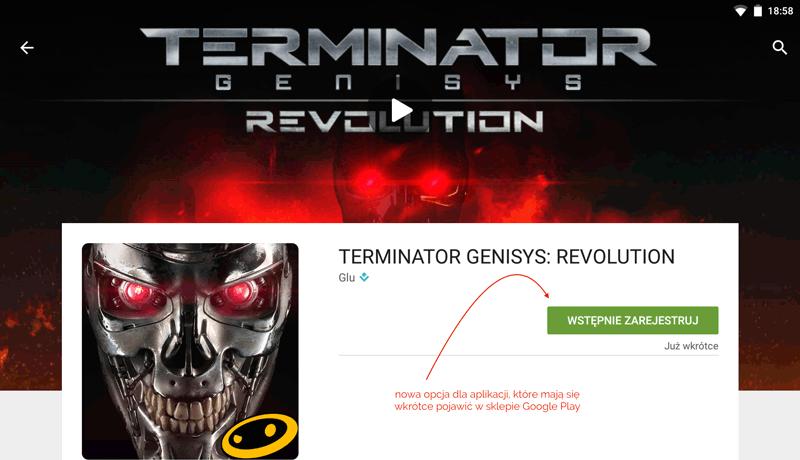 Przycisk Wstępnie zarejestruj w sklepie Google Play