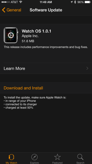 Watch OS 1.0.1 update