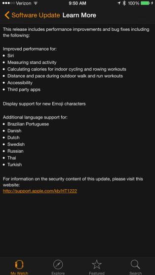 Watch OS 1.0.1 update